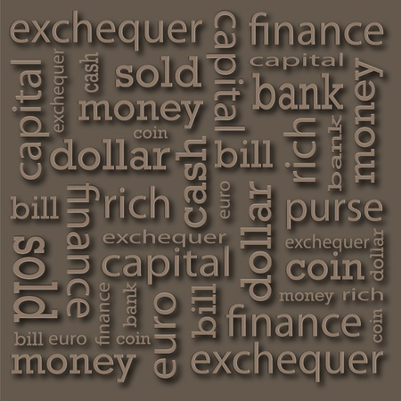 publicity:  The inscriptions on a financial theme located on a publicity board