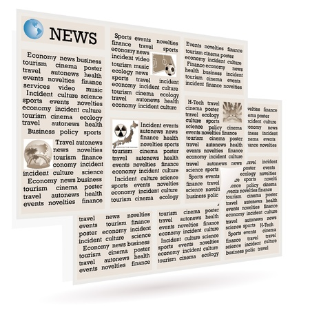 page views: The newspaper  the international news on a white background  Stock Photo