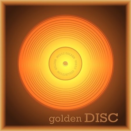 Picture in a framework with the image of a gold collection disk  Vector