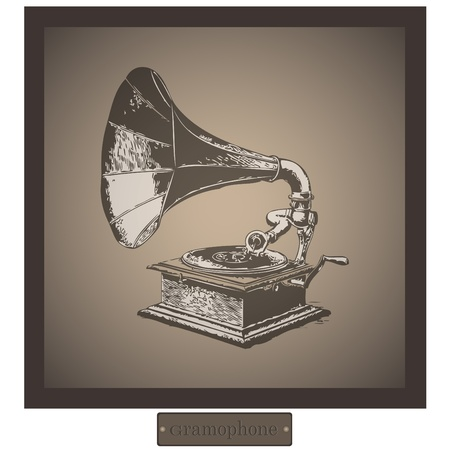 depicts: Painting which depicts an old gramophone