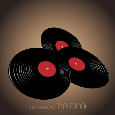 Old  disc for a record  music located on a fashionable background Stock Vector - 9515528