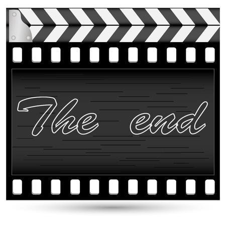 clap board: Combinaci�n abstracta de un falsificador de un cine y una pel�cula sobre el fondo aislado