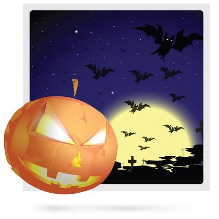Halloween postcard image masks a pumpkin in the night background.