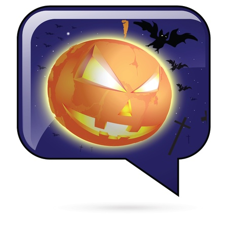 Icon of dark blue color with the image of a mask made of a pumpkin