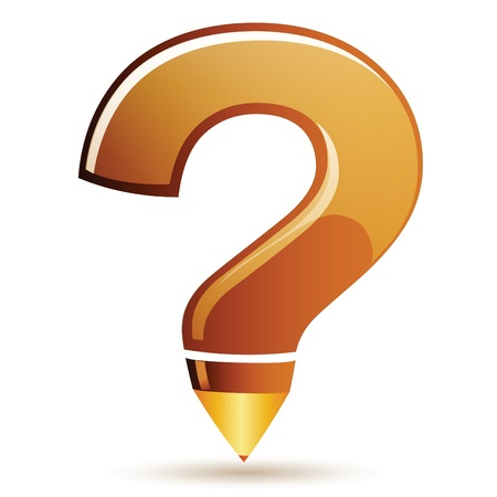 Pencil executed in the form of a question mark on a white background  Vector