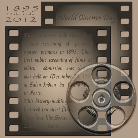 With text and film reel film projector for the old. Illustration