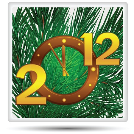 New year's date and the clock on the backdrop of the Christmas tree. Stock Photo - 11144959