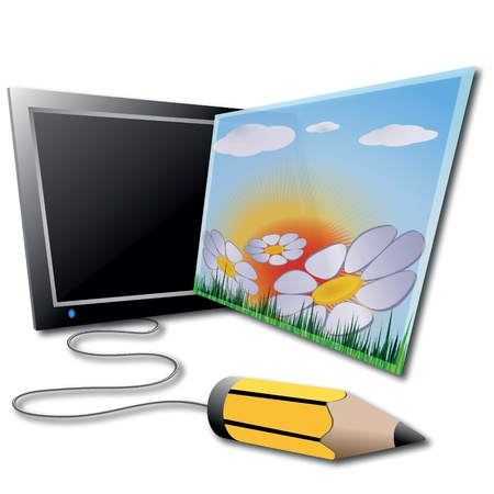 graphic tablet: The workplace of the illustrator, graphic tablet, pencil and the picture on a white background