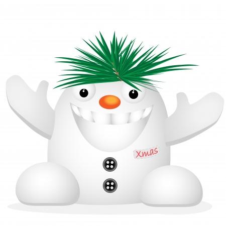 singular: Funny snowman on white background