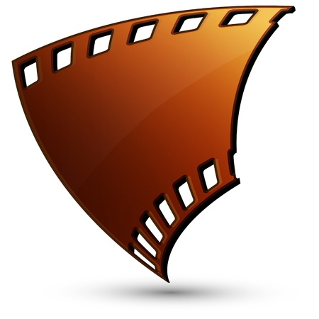 A piece of film in a brown tone on a white background Vector
