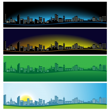 Panorama of the city in various colors Stock Vector - 18317828
