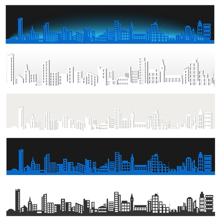 Collection of images of the panorama of a large city Stock Vector - 18404430