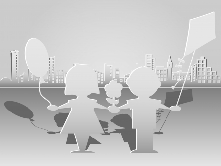 Cut paper silhouettes of children on city background Stock Vector - 18546478