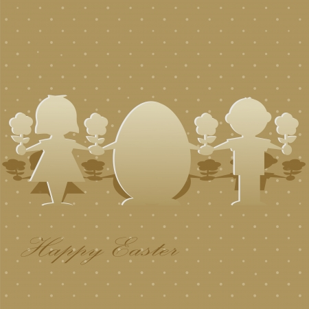 Paper silhouettes of children and Easter eggs for greeting card Stock Vector - 18583890