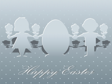 Silhouettes of children and easter egg on a greeting card Stock Photo - 18675235
