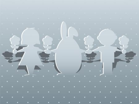 Paper silhouettes of children and the Easter bunny on a greeting card Stock Vector - 18677109