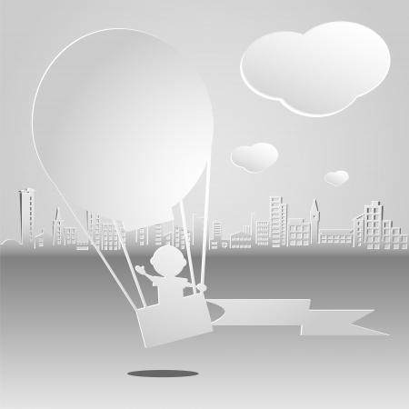 Boy flying a hot air balloon on the urban landscape