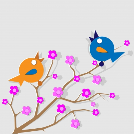 Two cheerful singing birds sitting on the branches of a blooming cherry tree Vector