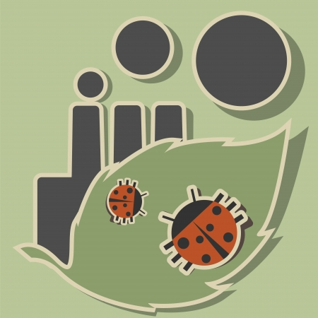 Two ladybugs and green leaf on a background of a smoking factory