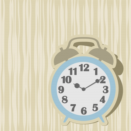 Outdated mechanical alarm clock on the abstract background