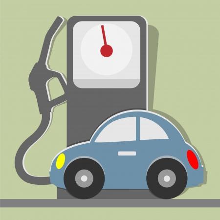 voiture ancienne: Vieille voiture et la station de gaz