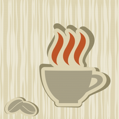 cup and coffee grains on abstract background