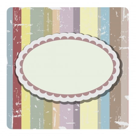 oval banner bright colors and abstract colored background composed of overlapping colored stripes