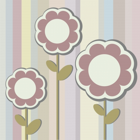 Vintage Bouquet of three flowers on the abstract striped background