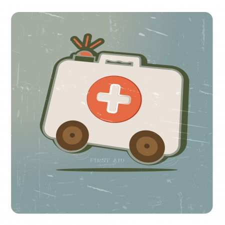 abstract cartoon image the medicine chest on wheels