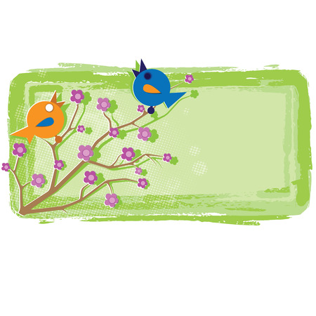 Two cheerful birds sing on a flowering tree branch