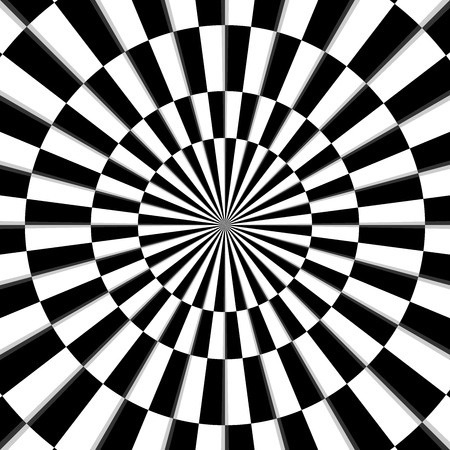 Optical illusion black and white background vector Illustration