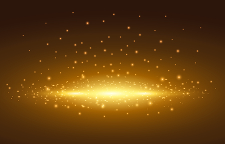 Magic light, golden spot with background, Vector illustration.