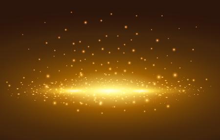 Magic light, golden spot with background, Vector illustration.