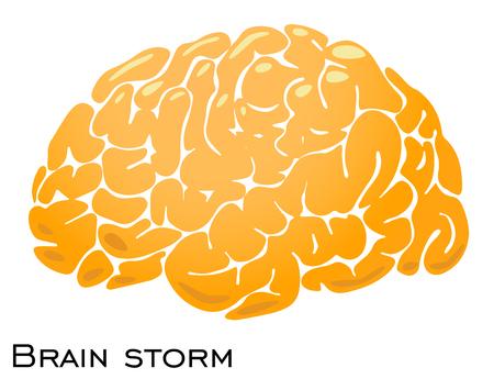 Golden brain, smart mind illustration, vector