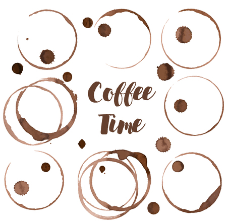 Coffee ring, set of coffee stains, vector