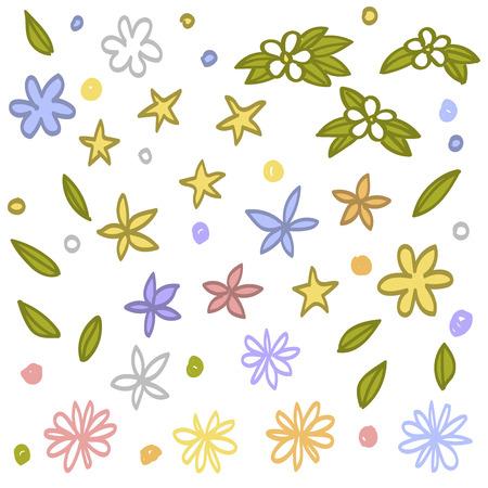 Set of floral elements hand drawn vector. Çizim