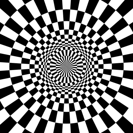 Optical illusion, black and white design, vector