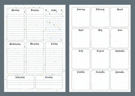 Notebook pages template, daily and month, vector