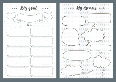 Notebook pages template, dreams and goal, vector