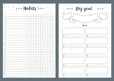 Notebook pages template, big goal and notes, Vector illustration.