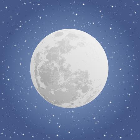 Moon on dark background, night sky, vector