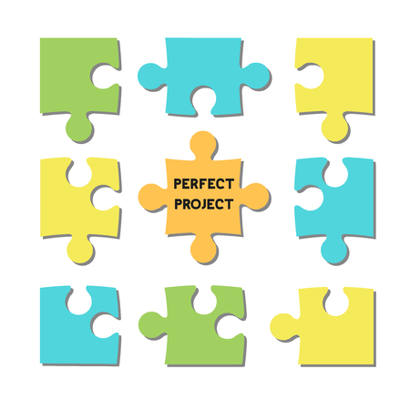 Puzzle team, team leader, manager, project, vector