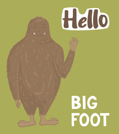 Bigfoot creature, cute big monster, vector design Çizim