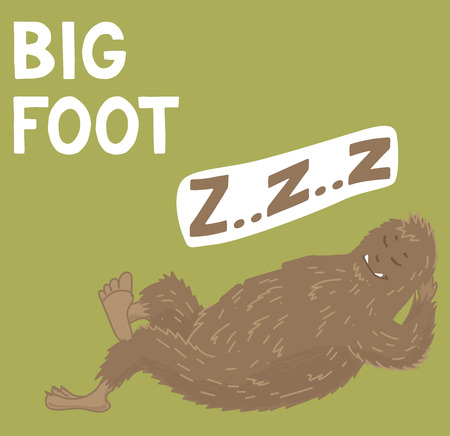 Bigfoot creature, cute big monster, vector design Illustration