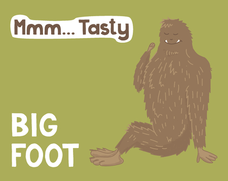 Bigfoot creature, cute big monster, vector design