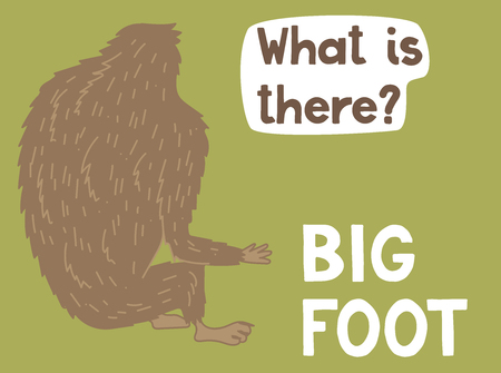 Bigfoot creature, cute big monster, vector design Ilustrace