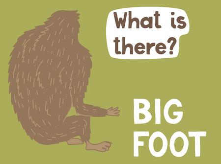 Creatura Bigfoot, simpatico mostro grande, disegno vettoriale Vettoriali