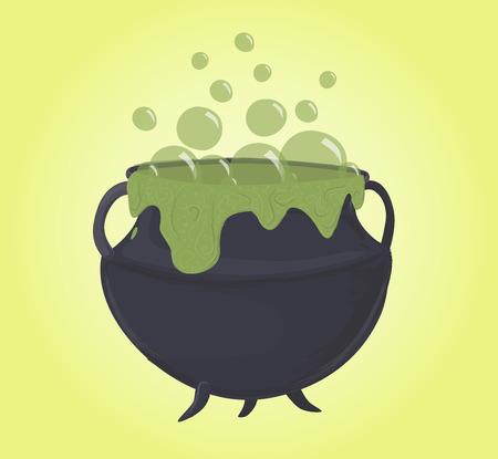 Magic green cauldron, bubbles and potion, vector