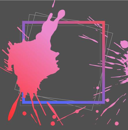 Splash ink frame template, gradient art, vector