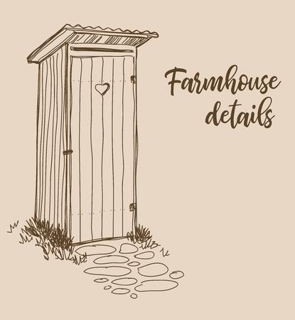 Farmhouse details, outside closet, vector